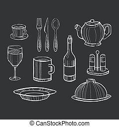 rukopis, nahý, dát, o, kuchyně kuchyňská potřeba, dále,...