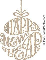 rukopis, nahý, fráze, happy new year, napsaný, od kruh
