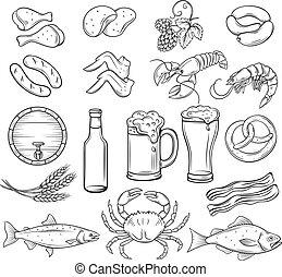rukopis, nahý, pivo, a, snack