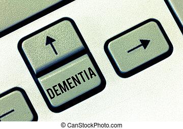 rukopis, text, dementia., pojem, význam, zhoršení, do, památka pokles, o, poznávací, fungování, rozum nemoc