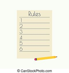 Rule list with a pencil. numbered list