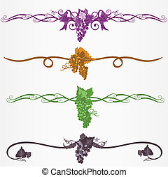 Rule or ruleline page decorations with grapes and leaves
