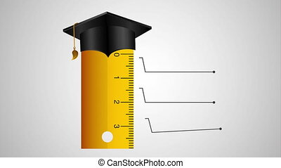 rule with graduation hat and statistics infographic...