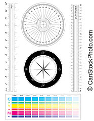 Actual precision ruler of inch and centimeter for vector file plus compass and protractor.