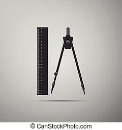 Ruler and drawing compass icon isolated on grey background. Drawing professional instrument. Geometric equipment. Education sign. Flat design. Vector Illustration