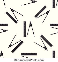 Ruler and drawing compass icon seamless pattern on white background. Drawing professional instrument. Geometric equipment. Education sign. Flat design. Vector Illustration