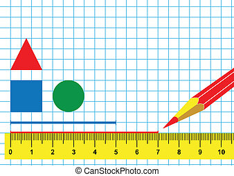 Ruler and pencil - Illustration ruler, pencil and drawing...