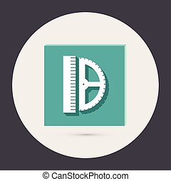 ruler and protractor. characters geometry. Education sign
