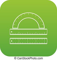 Ruler and protractor icon digital green