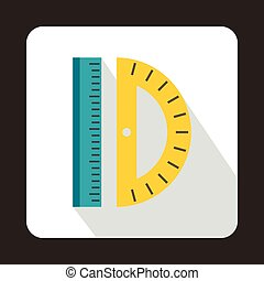 Ruler and protractor icon, flat style