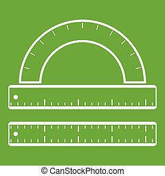 Ruler and protractor icon green