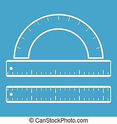 Ruler and protractor icon white