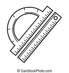 Ruler and protractor, school stationery items, geometrical drawing tools