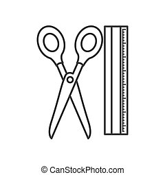 ruler and scissors tool isolated icon