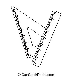 Ruler and triangle. Devices for school drawing.School And Education single icon in outline style vector symbol stock illustration.