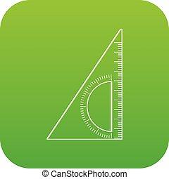 Ruler angle icon green vector