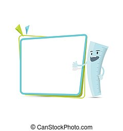 Ruler character cartoon design and text box frame for...