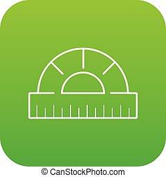 Ruler icon green vector