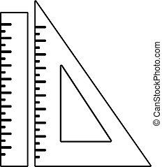 Ruler icon, outline line style
