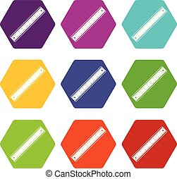 Ruler icon set color hexahedron