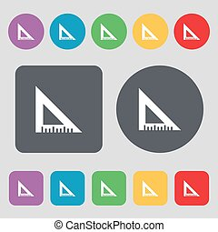 ruler icon sign. A set of 12 colored buttons. Flat design. Vector