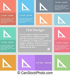 ruler icon sign. Set of multicolored buttons with space for text. Vector