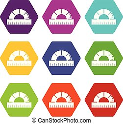 Ruler icons set 9 vector