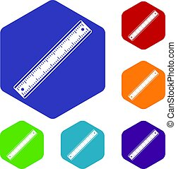 Ruler icons set hexagon