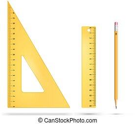 Ruler instruments - Yellow plastic ruler instruments. Vector...