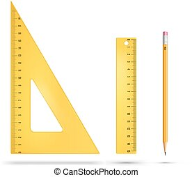 Yellow plastic ruler instruments. Vector illustration.