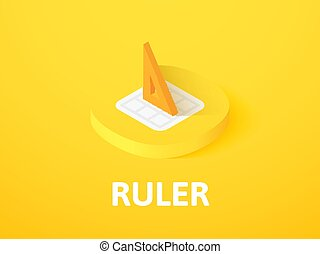 Ruler isometric icon, isolated on color background