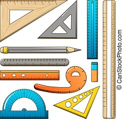 Ruler measure pencil icons set, cartoon style