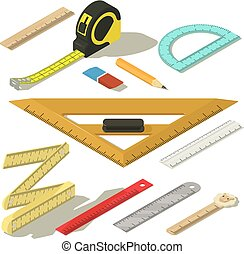 Ruler measure pencil icons set, isometric style