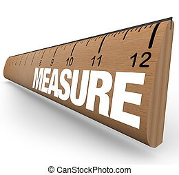 Ruler - Measure Word with Measurements on Stick - A wooden...