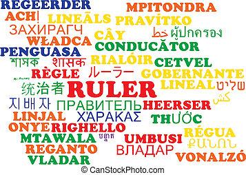 Ruler multilanguage wordcloud background concept