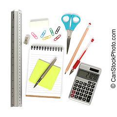 ruler notepad scissors pen calculator