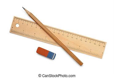 Ruler, pencil and eraser