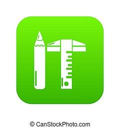 Ruler pencil icon green