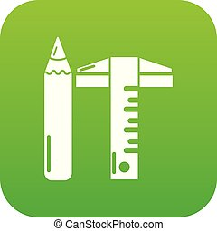 Ruler pencil icon green vector
