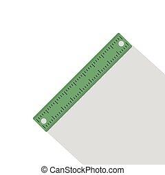 Ruler, rectangular shape icon, flat style