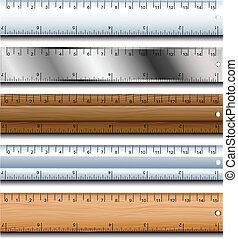 Ruler set - Wood, plastic and metallic ruler set isolated on...