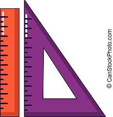 Ruler set icon, cartoon style