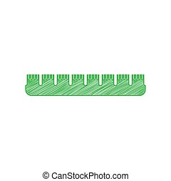 Ruler sign. Green scribble Icon with solid contour on white background. Illustration.