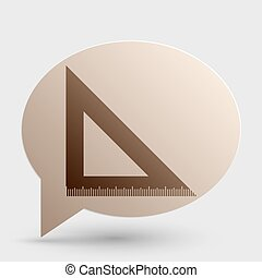 Ruler sign illustration. Brown gradient icon on bubble with shadow.