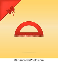 Ruler sign illustration. Cristmas design red icon on gold background.
