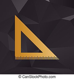 Ruler sign illustration. Golden style on background with polygons.