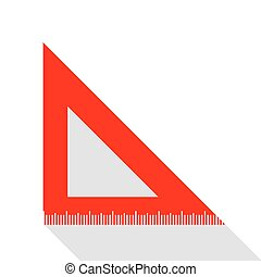 Ruler sign illustration. Red icon with flat style shadow path.