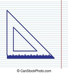 Ruler sign illustration. Vector. Navy line icon on notebook paper as background with red line for field.