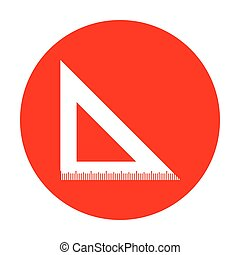 Ruler sign illustration. White icon on red circle.