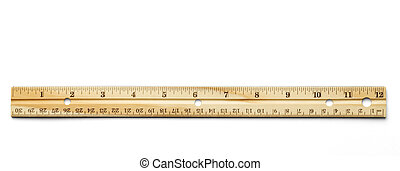 Ruler - Classic wood ruler isolated on a white background.